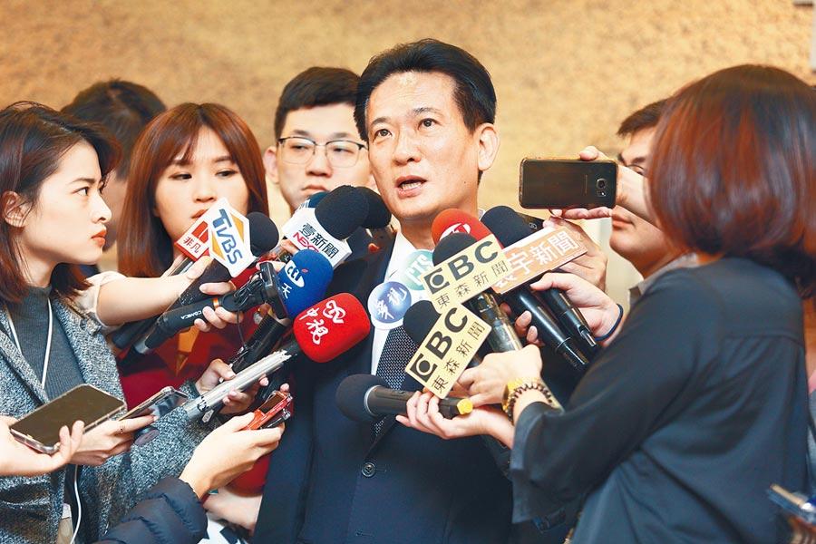 民進黨立委林俊憲(中)7日抨擊韓國瑜,要求說明是否曾向台肥要求借2成的房貸。(張鎧乙攝)