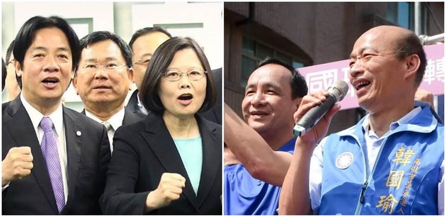 「蔡賴」(左圖)、「韓朱」(右圖)2020哪個組合勝算大? (本報資料照片)