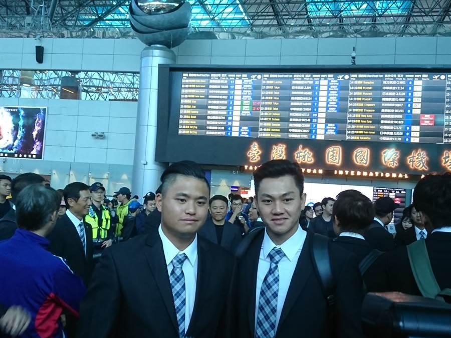 中華隊旅外投手胡智為(左)、江少慶(右)。(廖德修攝)