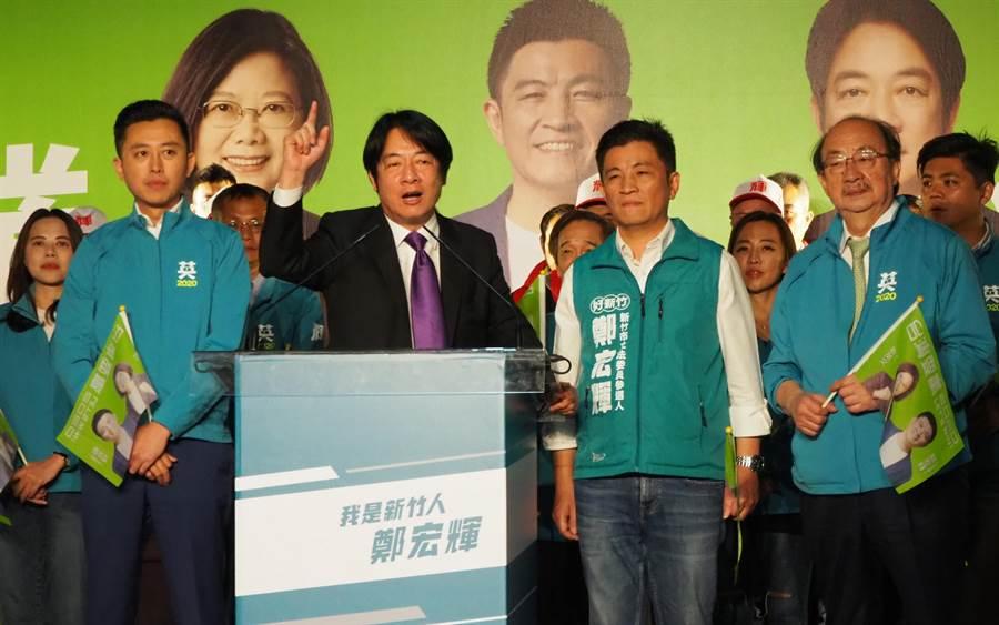 賴清德(左二)不忘替初選的競爭對手蔡英文拉票,拜託大家1票投蔡英文,1票投鄭宏輝,1票投民進黨。。(陳育賢攝)