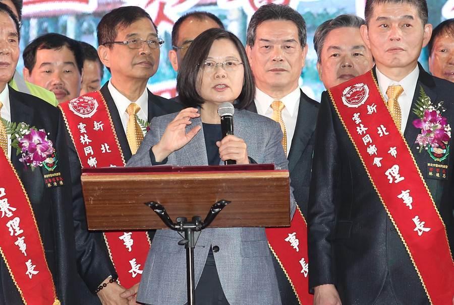 蔡英文總統出席新北市雲林同鄉會會員大會並致詞。(姚志平攝)