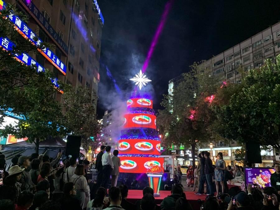 「台北最High新年城-2020跨年晚會」系列活動9日啟動,現場2分鐘的主燈秀,融入台灣景點美食與商圈。(張薷攝)