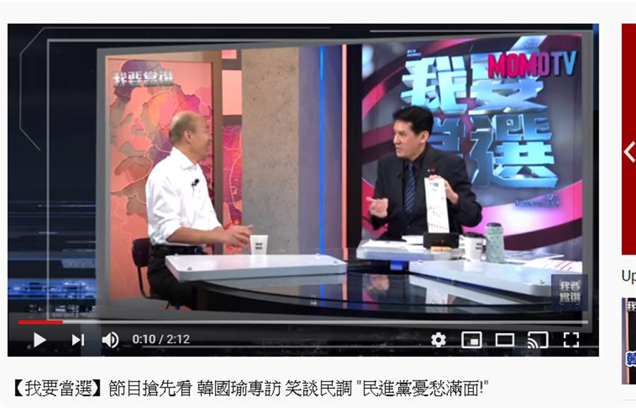 韓國瑜上黃暐瀚《我要當選》直播節目,笑談民調。(圖/截取自《我要當選》Youtube直播)