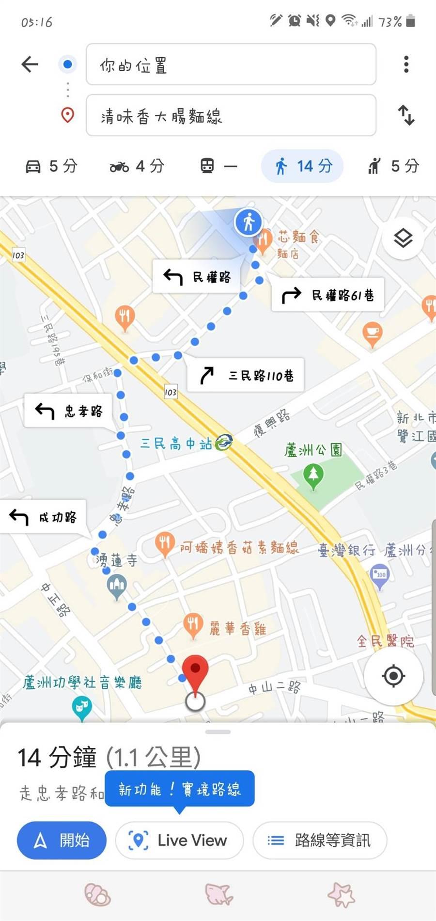 為了拯救路痴,Google Map導航推出新功能「AR實景導航」,只要打開Google地圖,並設定成「步行」來導航,就會看見「Live View」按鈕 (圖/林毅攝)