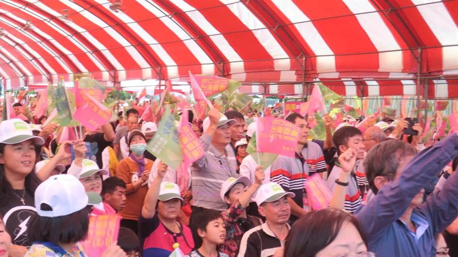 蔡英文總統與立委陳素月的聯合競選總部上午舉行成立大會,是彰化縣內首場聯合競總成立,到場支持者逾千人。(謝瓊雲攝)