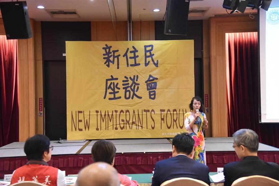 陶氏桂提到自己的心路歷程,如今說得一口流利中文,也舉辦書屋,讓社區姊妹教導孩子說母語,認識母國文化。(王昱凱攝)