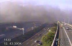 龜山回收場大火 國一43.3K濃煙蔽天