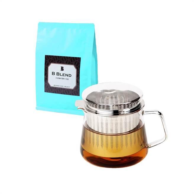比漾选物SHOPLINE商店「奇想咖啡╱茶两用玻璃壶」1890元,加赠价值370元的比漾选物B Blend自烘咖啡豆。(比漾广场提供)