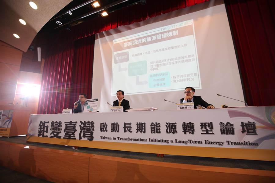 台大風險中心發布「啟動長期能源轉型」報告,批評執政黨執政3年來長期能源轉型缺乏完整對策。(圖:台大風險中心提供)