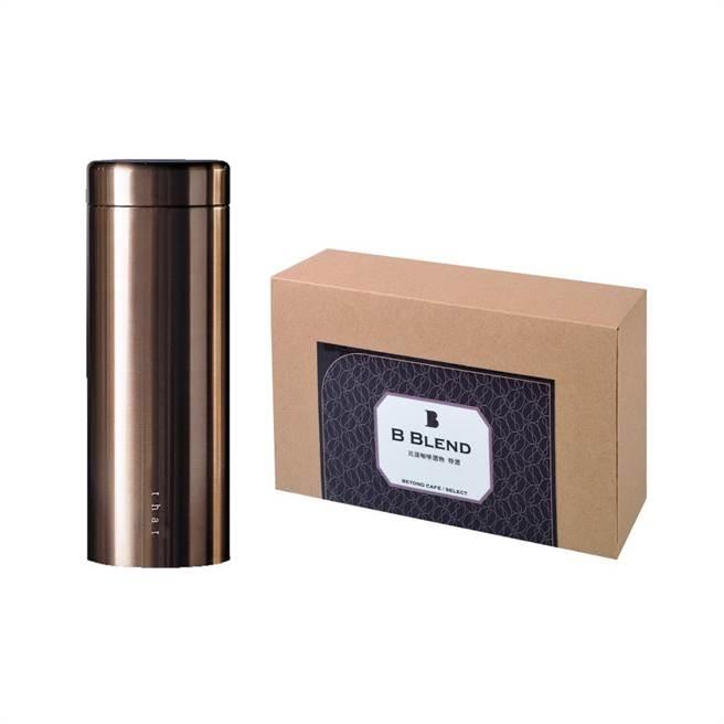 比漾选物SHOPLINE商店「奇想保温杯-玫瑰金」,矿物涂层、550ml、1690元,加赠每盒10入、价值350元的比漾咖啡选物B Blend挂耳包。(比漾广场提供)