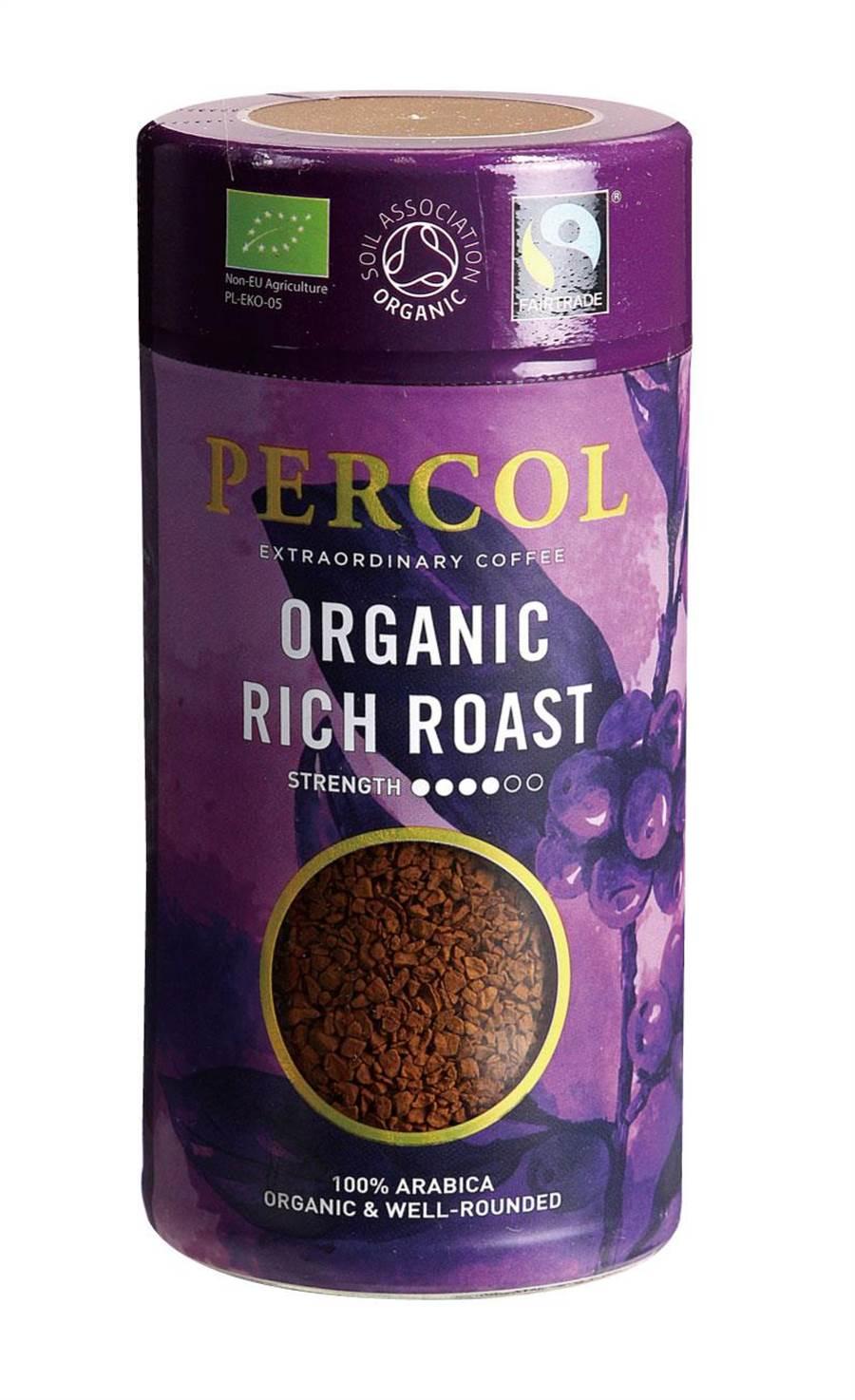 愛買英國Percol有機嚴選即溶黑咖啡,每罐100g,26日前原價399元、特價348元,限量120罐,僅新竹巨城店未販售。(愛買提供)