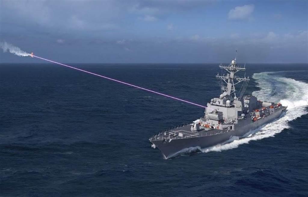 安裝在美國驅逐艦上的「太陽神」(HELIOS)雷射武器系統示意圖。(洛克希德馬丁)
