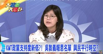 藍政黨支持度新低 吳敦義報恩名單 與民平行時空?