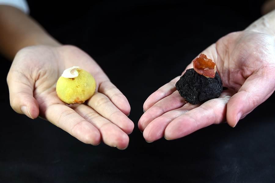 〈酥炸奶油球〉是非常傳統且經典的西班牙下酒菜,上層放了什麼食材就代表裡餡是什麼味道。(圖/姚舜)