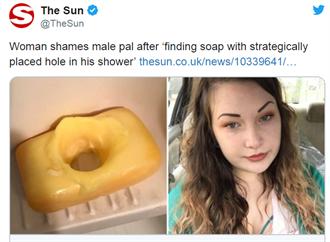你好壞!正妹借朋友廁所  見「穿洞肥皂」笑了