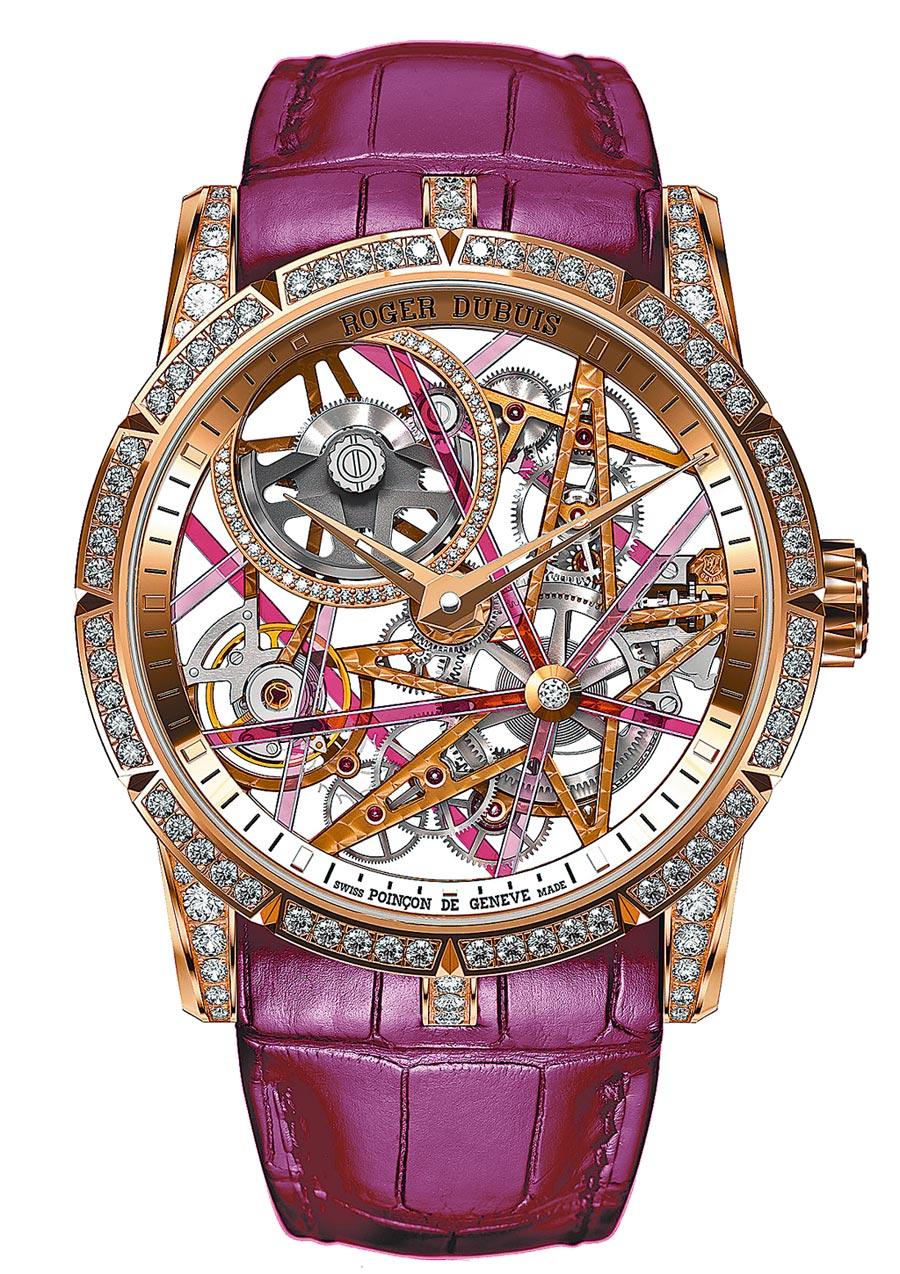 羅杰杜彼DBEX0757-Excalibur Blacklight玫瑰金鏤空自動上鍊腕表,352萬元。(Roger Dubuis提供)