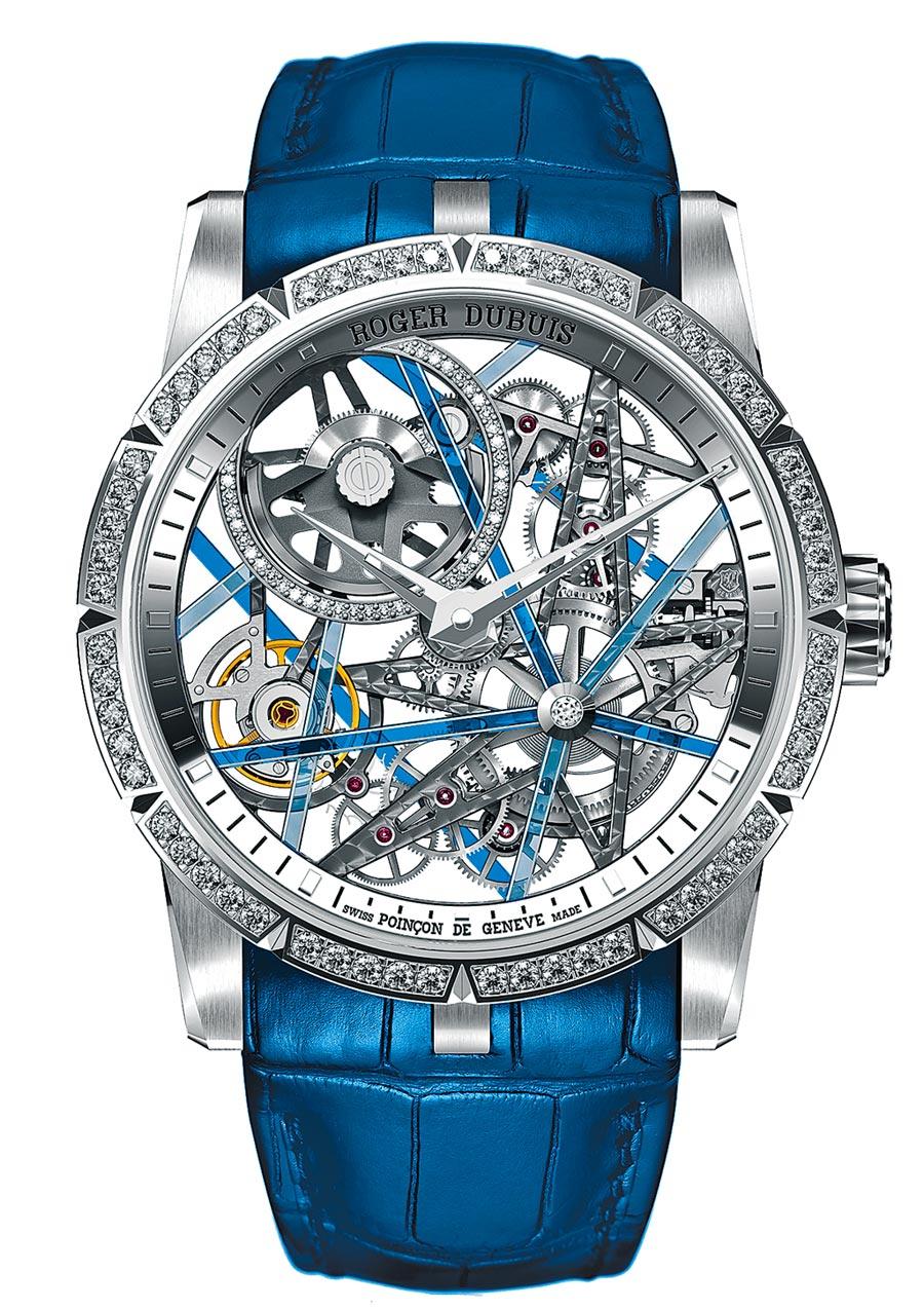 羅杰杜彼DBEX0744-Excalibur Blacklight白金鏤空自動上鍊腕表,320萬元。(Roger Dubuis提供)