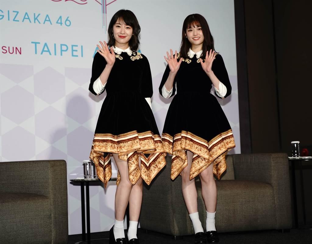 「乃木坂46」成員松村沙友理和高山一實。(實習記者郁晨攝)
