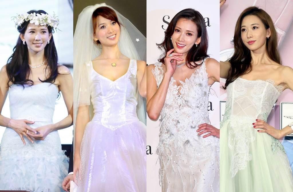 林志玲過往白紗造型一套比一套美。(圖/中時資料照片;達志影像)