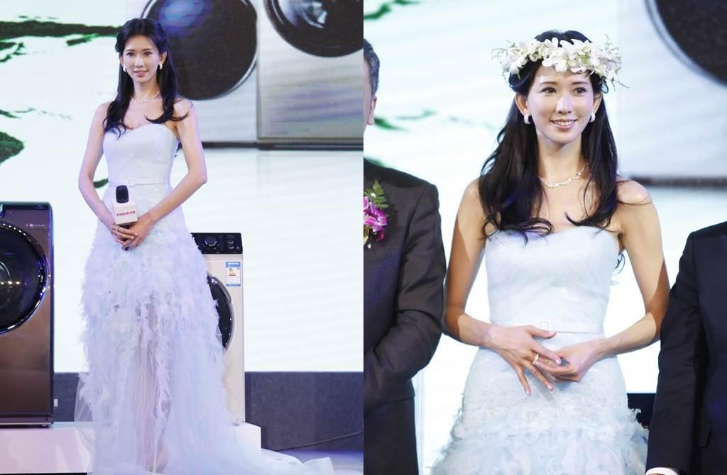 林志玲穿白紗以花仙子造型為廚具宣傳。(圖/達志影像)