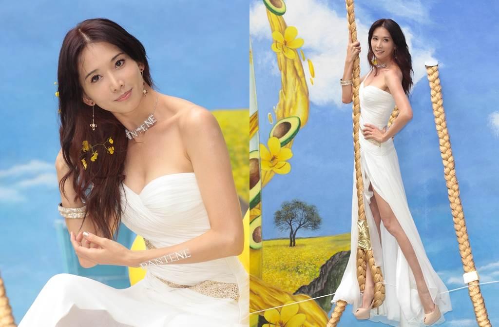 林志玲以希臘女神造型替美髮產品站台,上露事業線,下露長腿。(圖/達志影像)