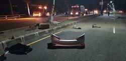 台東大學學生駕車飛起來撞護欄 腦漿四溢1死1傷