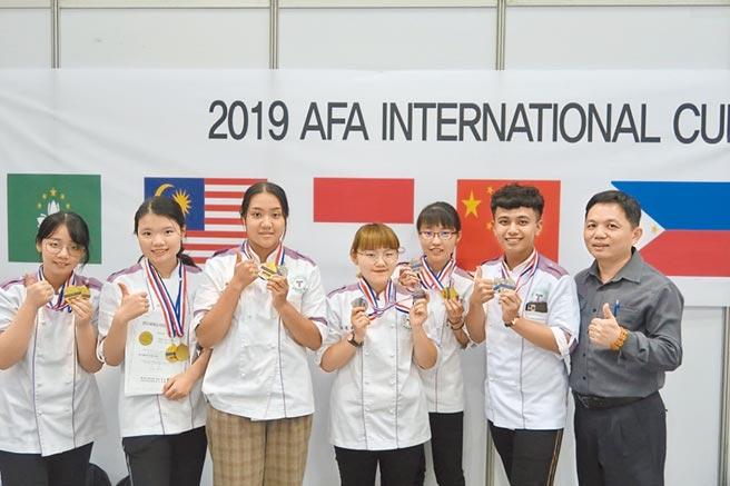 「2019韓國世界國際廚藝大賽」餐旅與烘焙管理系二至三年級參賽同學榮獲6金6銀佳績。(樹德科大提供)