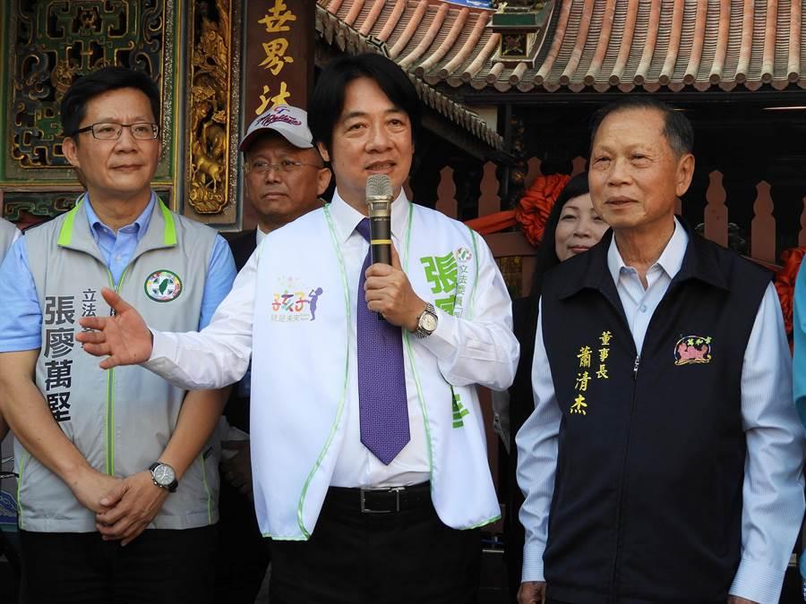 賴清德強調,大選中台灣扮演很重要的角色,希望讓「總統連任、國會過半」!(陳世宗攝)