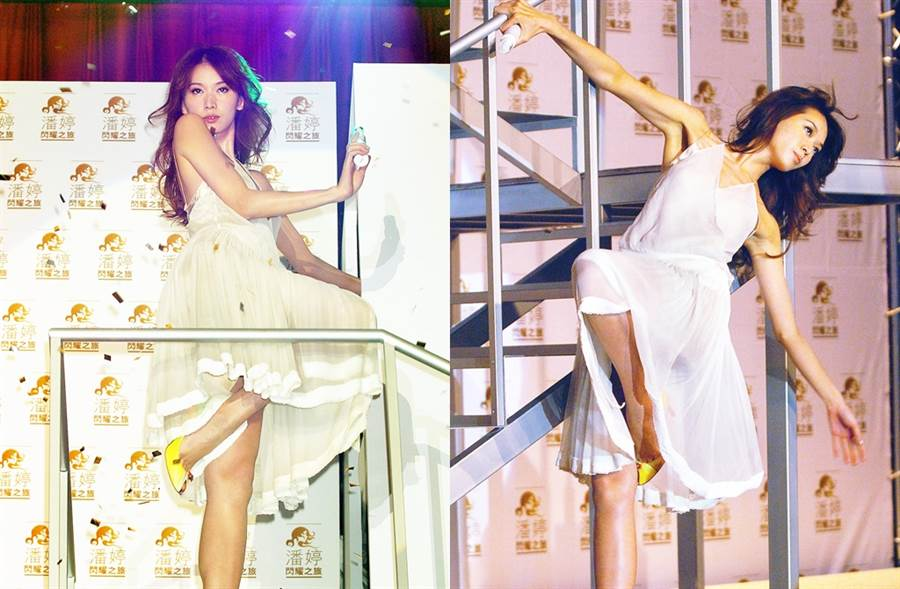 林志玲穿輕薄紗質小禮服邊熱舞,性感又動感。(圖/中時資料照片)