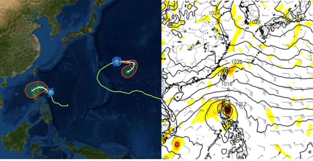 左圖:中央氣象局17日2時「路徑潛勢預測圖」顯示,「海鷗」(左)及「風神」(右)。 右圖:最新(16日20時)歐洲模式21日20時模擬圖顯示,菲律賓東方的熱帶擾動,週三、四(20、21日)前後有機率發展成颱,未來將通過菲律賓進入南海。(圖摘自三立準氣象·老大洩天機)