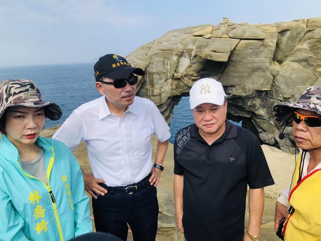 新北市長侯友宜17前往象鼻岩視察,並說守護象鼻岩的地質環境,絕對是最首要的目標,並指出「象鼻岩絕對不是三不管,我們一直都在管」。(吳康瑋攝)