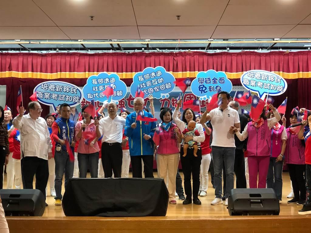 今日國民黨總統提名人韓國瑜出席婦女後援會活動。(圖/ 吳家豪攝)