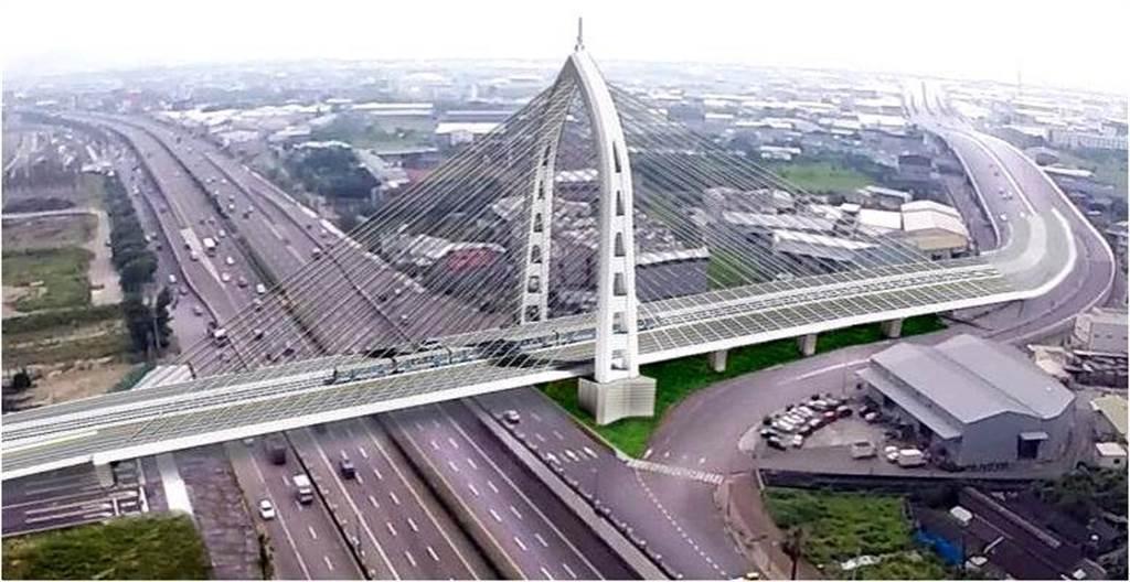中部最高斜張橋「台中市水湳40M-11號道路與中科東向道路銜接工程」。(台中市政府提供/陳世宗台中傳真)