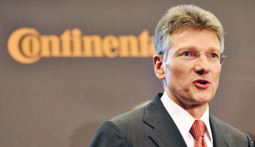 馬牌輪胎執行長德根哈特(Elmar Degenhart)估計,未來10年公司約有兩萬個職務恐被裁撤。圖╱美聯社