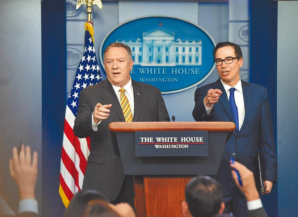 美國國務卿蓬佩奧(左)表示,若陸方對港採取軍事鎮壓手段,美方不排除「適當」干預。(中新社)