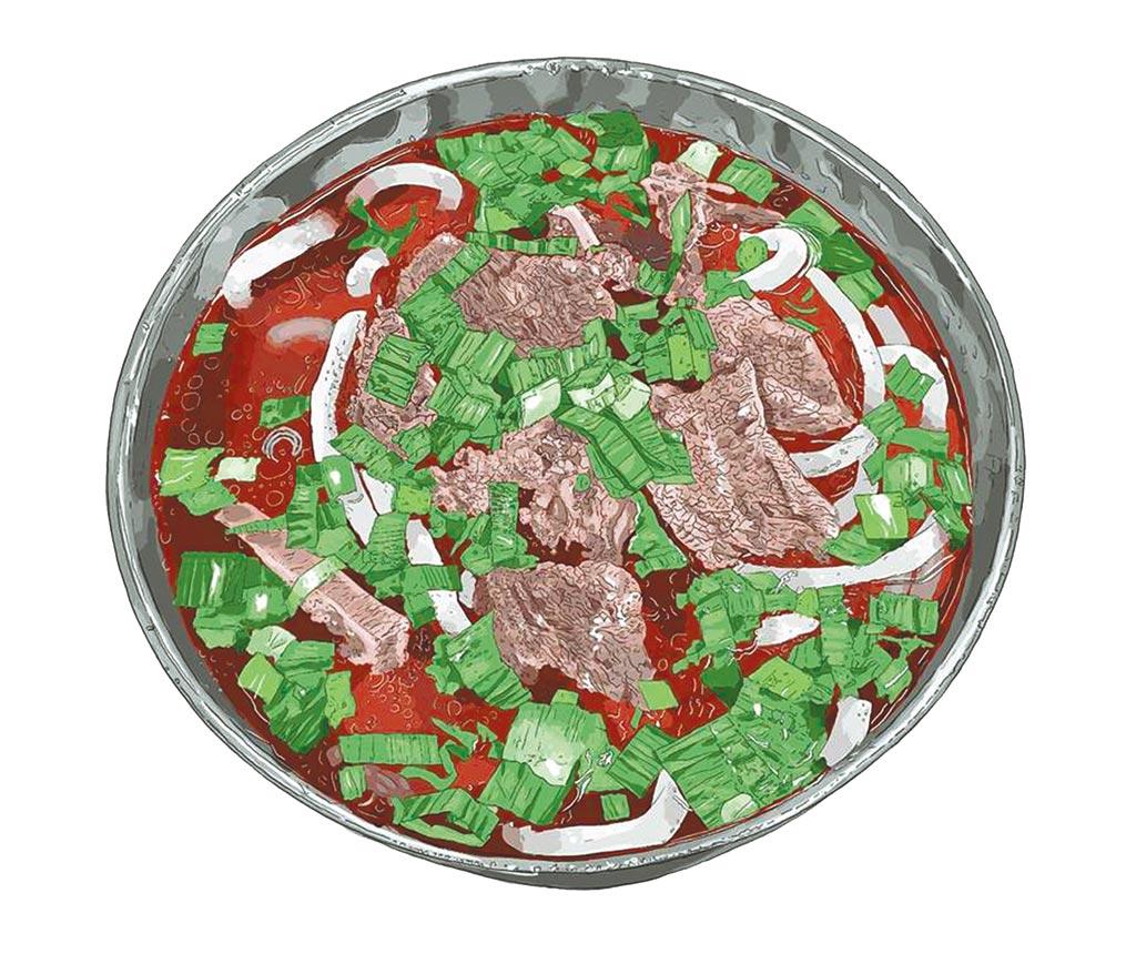 漫畫家萬小田表示,即使是牛肉麵,也不因是同一種食物而畫的不講究。(萬小田提供/王寶兒台北傳真)