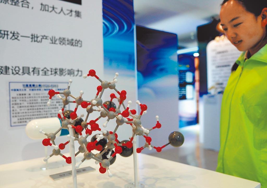 2019上海科創成果展上展示的阿茲海默症治療新藥分子結構模型。(新華社)