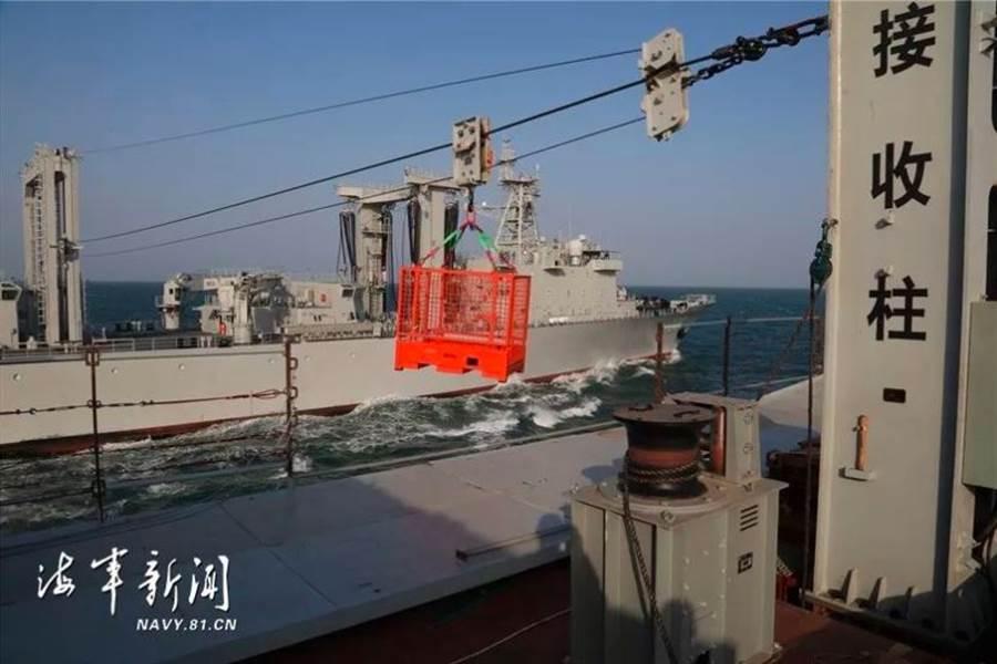解放軍軍艦利用福州輪的航行橫向補給系統接收裝置,在兩艦間架起高架索,順利進行了物資相互轉運。(「海軍新聞」微信公眾號)