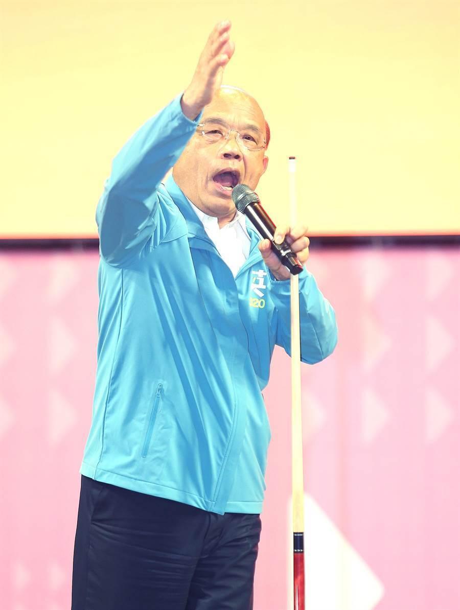 蘇院長仍抱病前往「2020台灣要贏蔡英文總統連任全國暨台北市競選總部成立大會」站台致詞。(陳怡誠攝)