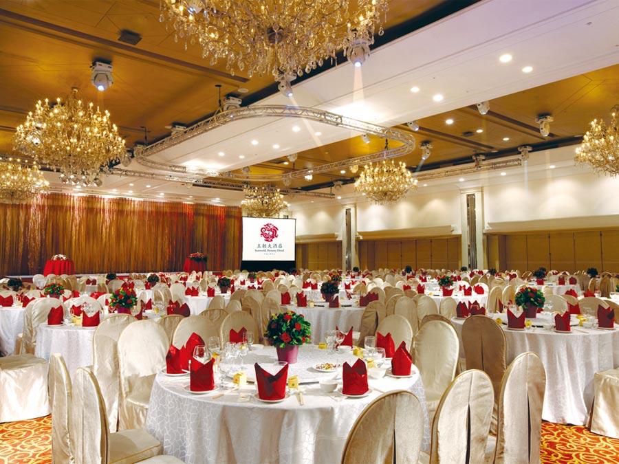 台北王朝擁有挑高5米、204坪豪華氣派國際大會堂,可提供國宴級餐飲,是舉辦大型尾牙春酒的最佳場地。圖/業者提供