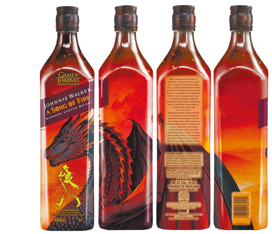 JOHNNIE WALKER x《冰與火之歌:權力遊戲》再度攜手 打造限量最終章_火龍瓶身全貌。圖片提供帝亞吉歐