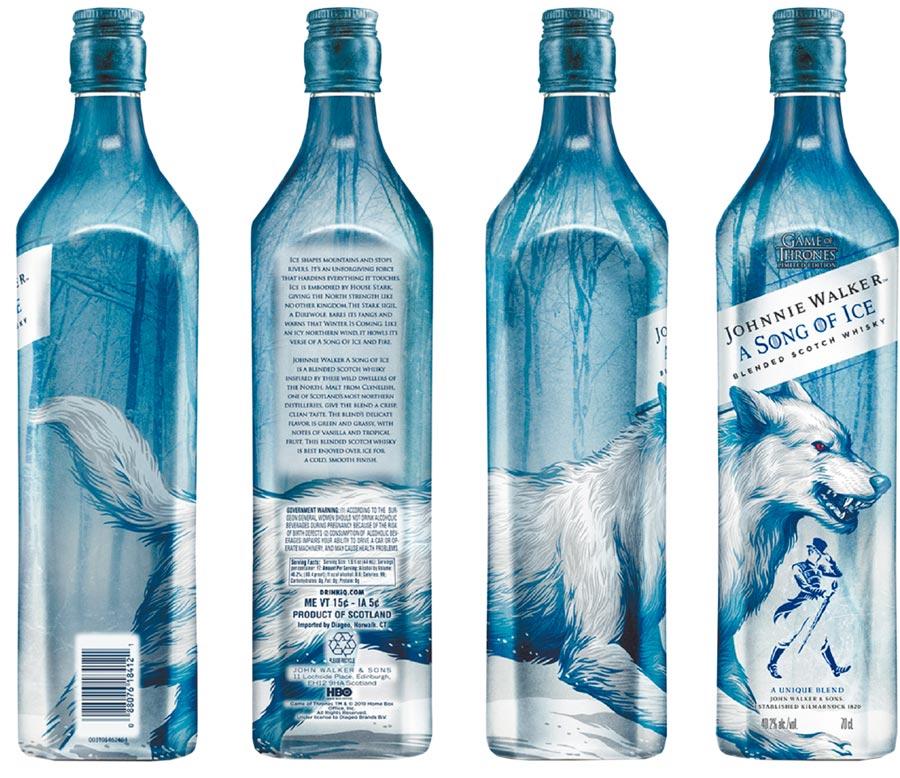 JOHNNIE WALKER x《冰與火之歌:權力遊戲》再度攜手 打造限量最終章_冰原狼瓶身全貌。圖片提供帝亞吉歐