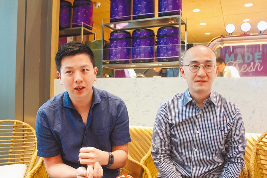 Chris(左)及Michael(右)是堂兄弟,家族很早就移居菲律賓,看準珍奶商機,將日出茶太引進菲律賓。(記者李澍攝)