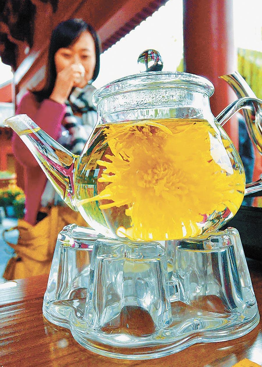 河南民眾品嘗菊花茶。(新華社資料照片)