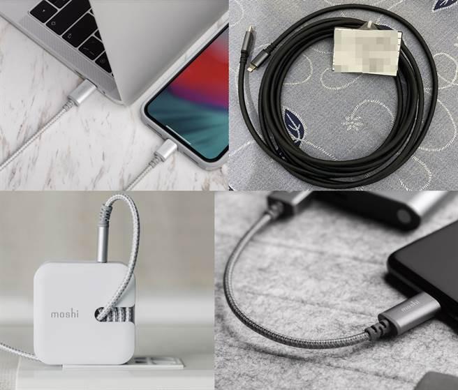 Moshi為iPhone推出不少相關周邊,新一代iPhone 11系列可充分體會快充的便利性。左上至右下依序是Moshi Rewind C 高效能USB-C充電器、Integra強韌系列 USB-C to USB-A 耐用充電/傳輸編織線(0.25 m)、 Integra 強韌系列USB-C to Lightning 耐用充電/傳輸編織線(1.2 公尺)以及 USB-C to Lightning 充電/傳輸線 (3 m)的官方圖片。(摘自Moshi官網、黃慧雯製)