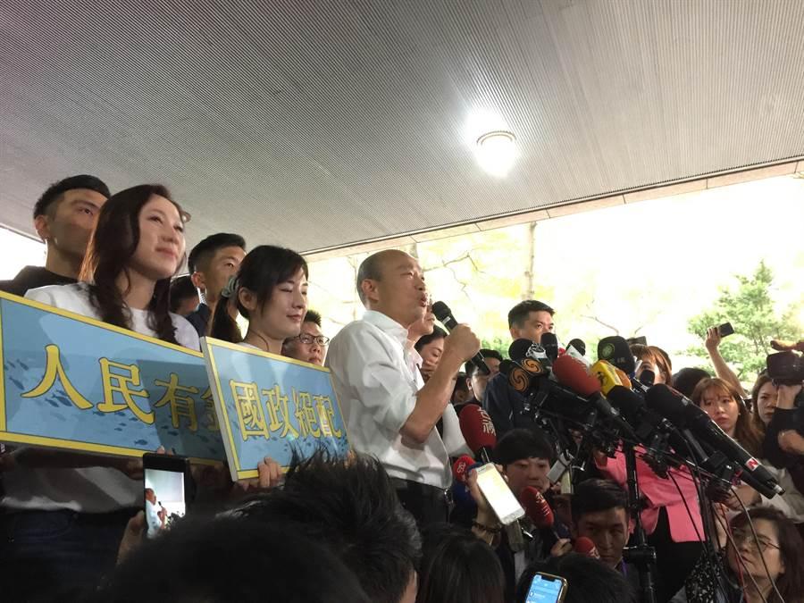 國民黨總統提名人韓國瑜今日受訪照 記者吳家豪攝