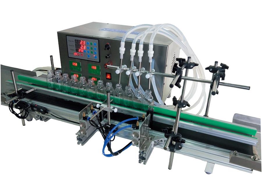 盧氏亞信推出四頭全自動填充機,適用於食用油、化工、藥品、化妝品及生物科技產業之任何液體充填灌裝。圖/盧氏亞信公司提供