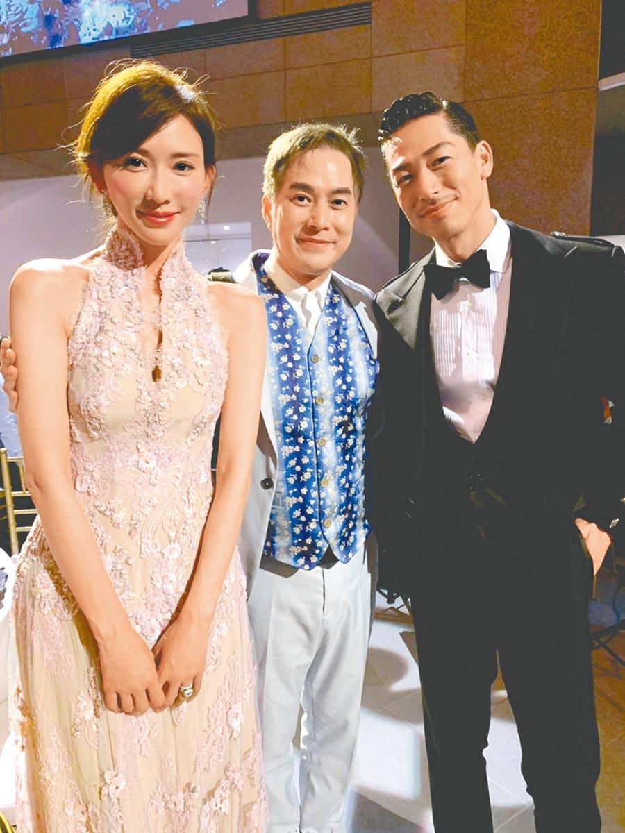 林健寰(中)29年前帶林志玲(左)出道,昨晚也受邀參加她與AKIRA的婚禮。(親友提供)