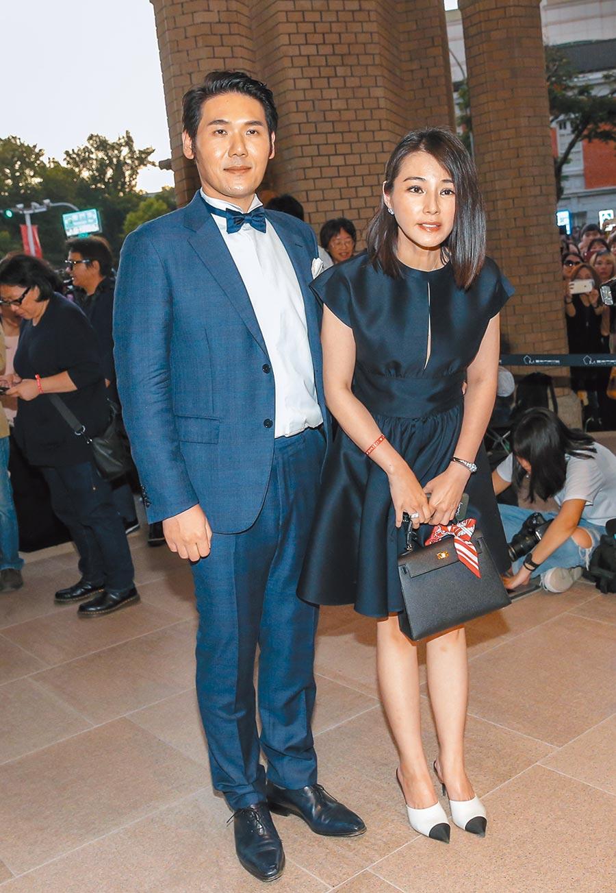 聖緹雅醫療集團董事長薛博仁(左)與林志玲是15年好友,他與老婆陳怡蓉昨一起出席婚禮。(盧禕祺攝)
