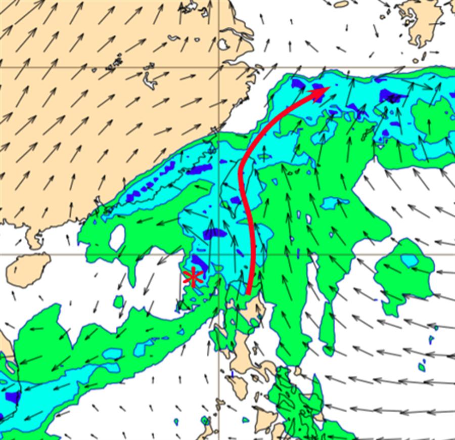 最新歐洲模式模擬,周五的700百帕天氣圖顯示,準「鳳凰」颱風輸送中層水氣繼續通過台灣上空。(翻攝自 三立準氣象·老大洩天機)